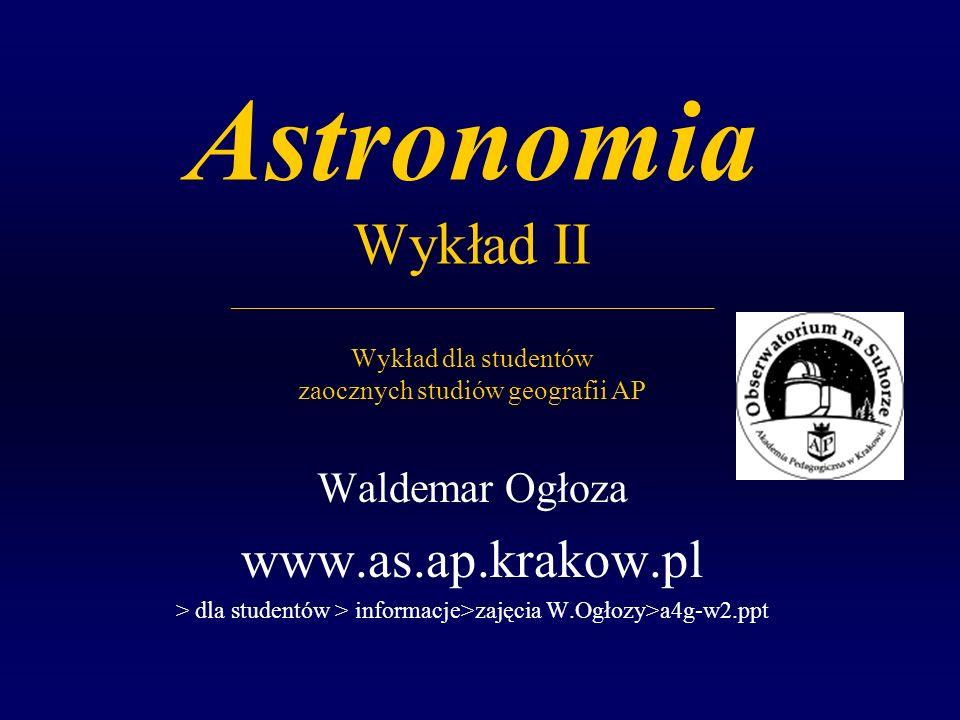 W.Ogłoza, Astronomia, Wykład 2 22 Zastosowania trójkątów sferycznych do nawigacji: Ortodroma i Loksodroma czyli szybka lub łatwa podróż po powierzchni sfery Ortodroma - prostobieżnia jest najkrótszą drogą pomiędzy dwoma punktami na powierzchni sfery (np.: dwa miasta na kuli ziemskiej) Do obliczenia jej długości stosuje się trójkąt sferyczny na powierzchni Ziemi z wierzchołkami: Biegun ziemski, punkt 1, punkt 2 jest fragmentem koła wielkiego przecina kolejne południki pod różnymi kątami (podróżnik musi ciągle zmieniać kurs) Loksodroma - skośnobieżnia przecina wszystkie południki pod tym samym kątem, zatem podróżnik może utrzymywać stały kurs aby dotrzeć do celu jest dłuższa od ortodromy
