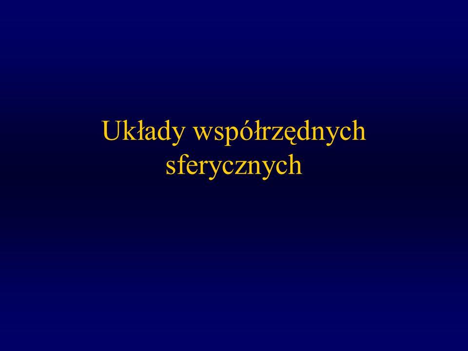 W.Ogłoza, Astronomia, Wykład 2 3 Koła Wielkie i Koła Małe Równik-Koło Wielkie Równoleżniki to koła małe Płaszczyzna Koła Wielkiego zawiera środek sfery