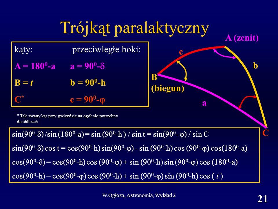 W.Ogłoza, Astronomia, Wykład 2 21 Trójkąt paralaktyczny kąty: przeciwległe boki: A = 180 0 -aa = 90 0 - B = tb = 90 0 -h C * c = 90 0 - sin(90 0 - ) /