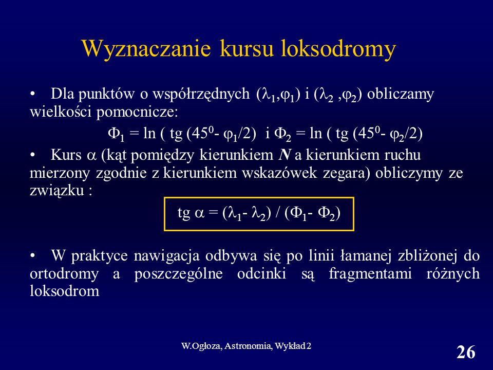 W.Ogłoza, Astronomia, Wykład 2 26 Wyznaczanie kursu loksodromy Dla punktów o współrzędnych ( 1, 1 ) i ( 2, 2 ) obliczamy wielkości pomocnicze: 1 = ln