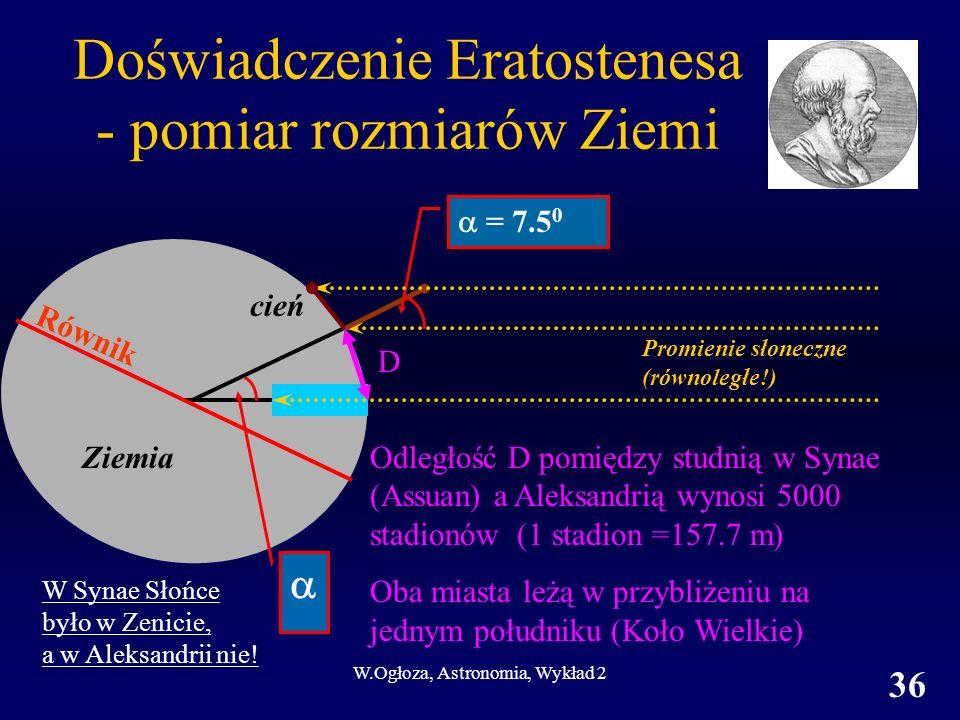 W.Ogłoza, Astronomia, Wykład 2 36 Doświadczenie Eratostenesa - pomiar rozmiarów Ziemi D = 7.5 0 Odległość D pomiędzy studnią w Synae (Assuan) a Aleksa