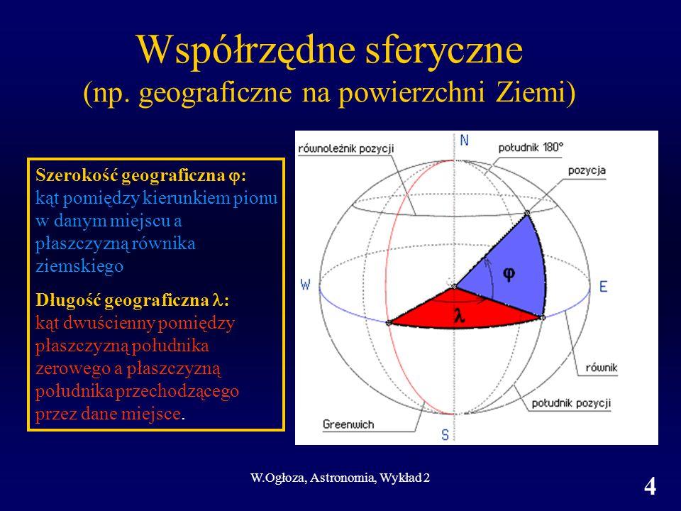 W.Ogłoza, Astronomia, Wykład 2 5 Elementy układów współrzędnych Współrzędne geograficzne Oś układu Płaszczyzna podstawowa Pierwsza współrzędna jednostki; zakres; zwrot Druga współrzędna Półkole początkowe jednostki; zakres; zwrot Oś obrotu Ziemi Równik (prostopadły do osi obrotu) Szerokość geograficzna °; od -90 (S) do +90 (N) Długość geograficzna Południk zerowy °; od -180 (W) do +180 (E)
