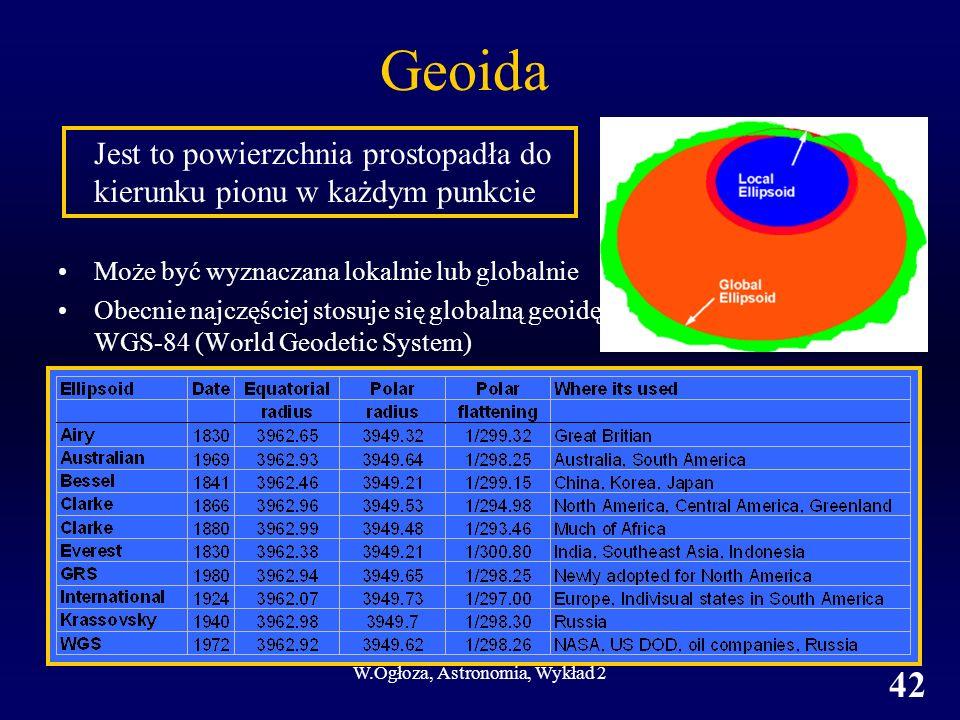W.Ogłoza, Astronomia, Wykład 2 42 Geoida Jest to powierzchnia prostopadła do kierunku pionu w każdym punkcie Może być wyznaczana lokalnie lub globalni