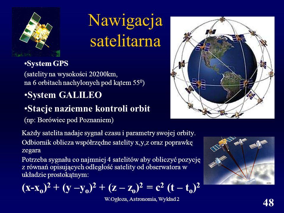 W.Ogłoza, Astronomia, Wykład 2 48 Nawigacja satelitarna System GPS (satelity na wysokości 20200km, na 6 orbitach nachylonych pod kątem 55 0 ) System G