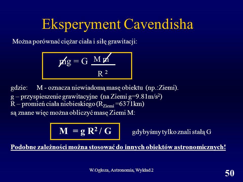 W.Ogłoza, Astronomia, Wykład 2 50 Można porównać ciężar ciała i siłę grawitacji: mg = G gdzie: M - oznacza niewiadomą masę obiektu (np.:Ziemi). g – pr