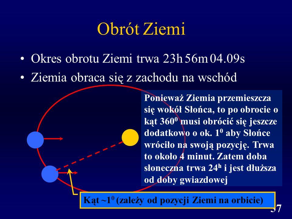 W.Ogłoza, Astronomia, Wykład 2 57 Obrót Ziemi Okres obrotu Ziemi trwa 23h 56m 04.09s Ziemia obraca się z zachodu na wschód Kąt ~1 0 (zależy od pozycji
