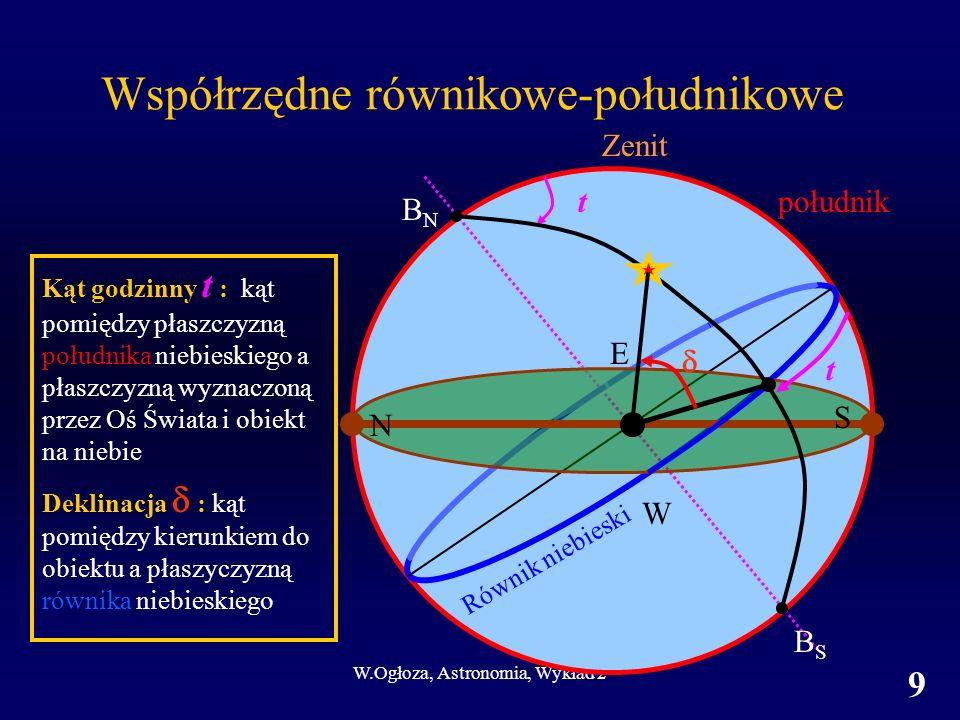 W.Ogłoza, Astronomia, Wykład 2 10 Elementy układów współrzędnych Współrzędne równikowe-południkowe Oś układu Płaszczyzna podstawowa Pierwsza współrzędna jednostki; zakres; zwrot Druga współrzędna Półkole początkowe jednostki; zakres; zwrot Oś świata Równik niebieski deklinacja °; od -90 (S) do +90 (N) kąt godzinny t od południka h m s ; 0 - 24; na zachód