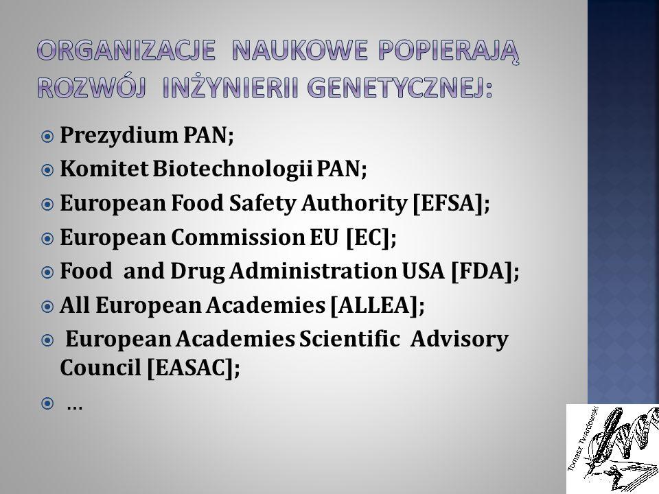 Prezydium PAN; Komitet Biotechnologii PAN; European Food Safety Authority [EFSA]; European Commission EU [EC]; Food and Drug Administration USA [FDA];