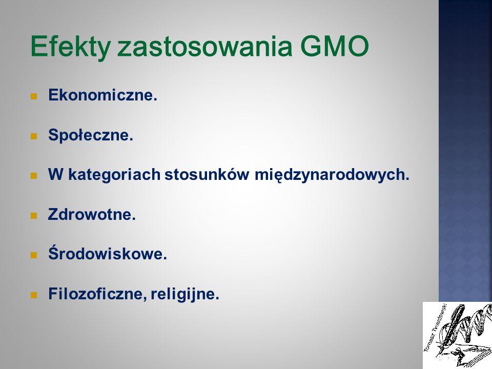 Efekty zastosowania GMO Ekonomiczne. Społeczne. W kategoriach stosunków międzynarodowych. Zdrowotne. Środowiskowe. Filozoficzne, religijne.