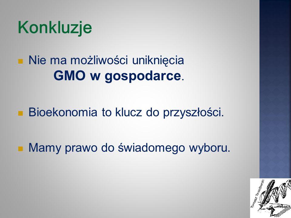 Konkluzje Nie ma możliwości uniknięcia GMO w gospodarce. Bioekonomia to klucz do przyszłości. Mamy prawo do świadomego wyboru.