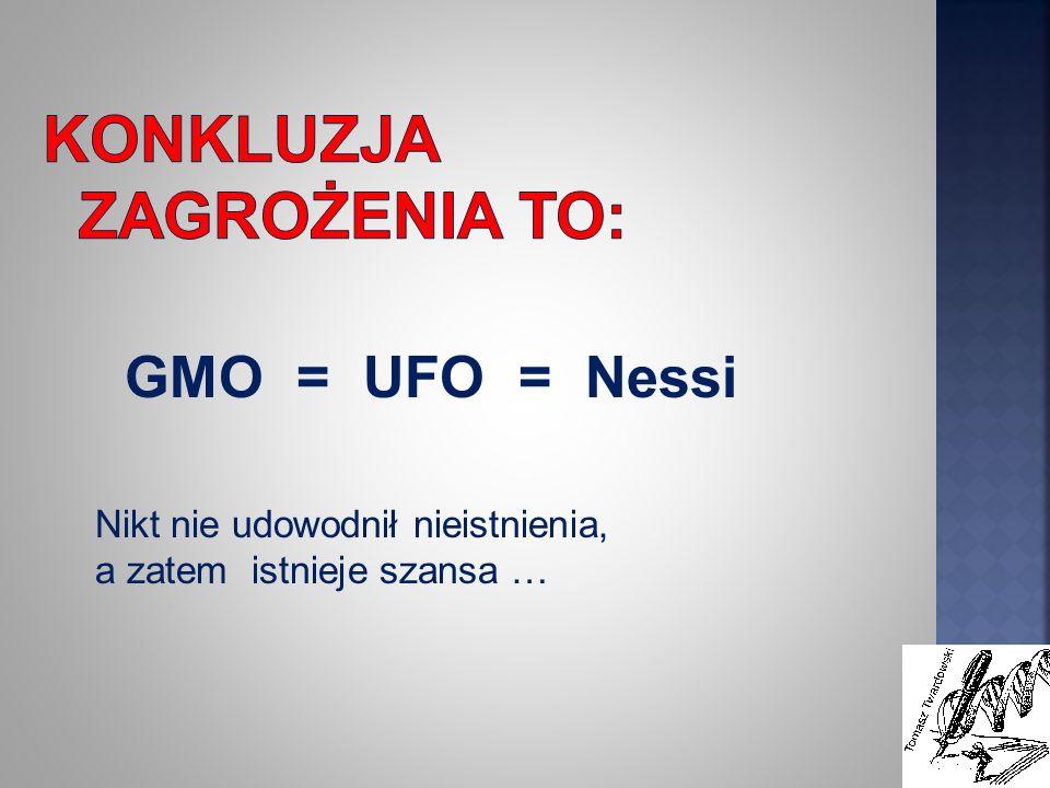 GMO = UFO = Nessi Nikt nie udowodnił nieistnienia, a zatem istnieje szansa …