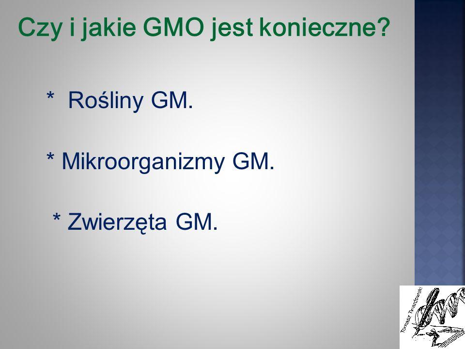 Czy i jakie GMO jest konieczne? * Rośliny GM. * Mikroorganizmy GM. * Zwierzęta GM.