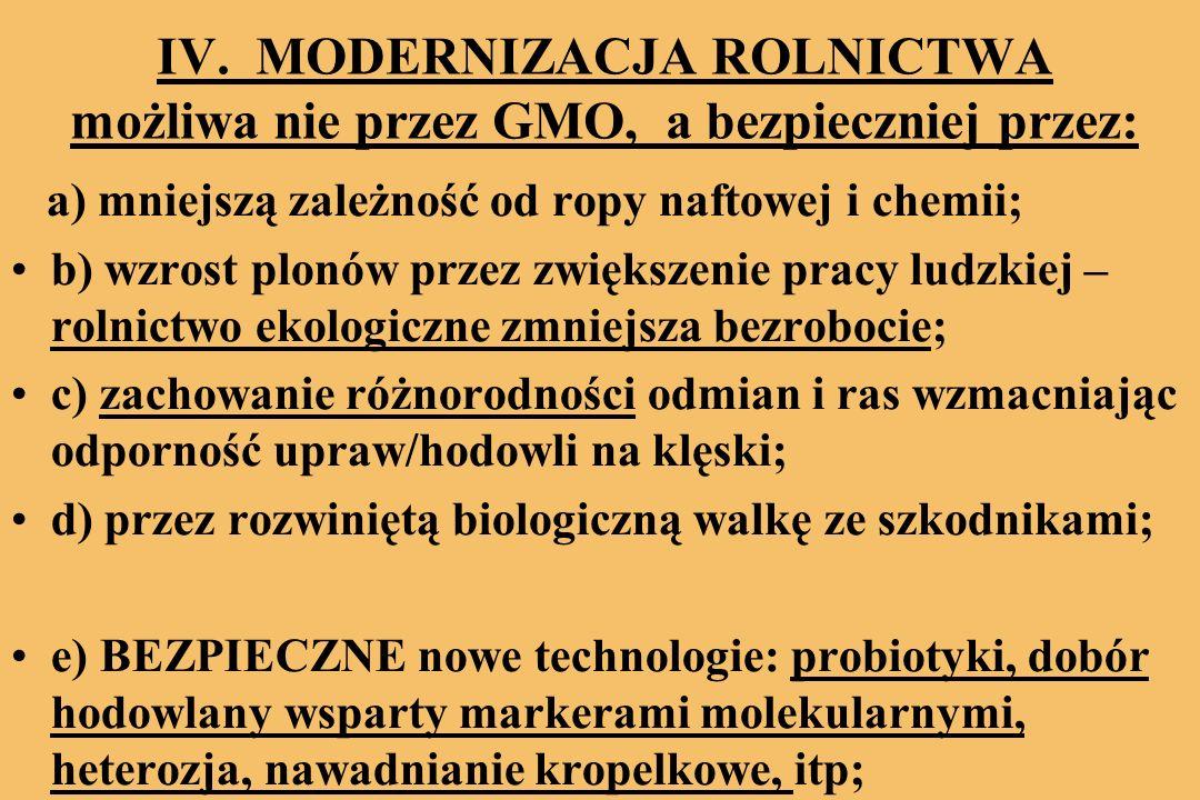 IV. MODERNIZACJA ROLNICTWA możliwa nie przez GMO, a bezpieczniej przez: a) mniejszą zależność od ropy naftowej i chemii; b) wzrost plonów przez zwięks