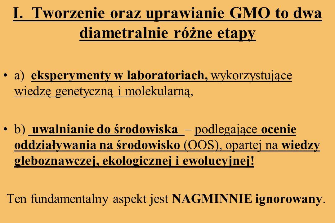 I. Tworzenie oraz uprawianie GMO to dwa diametralnie różne etapy a) eksperymenty w laboratoriach, wykorzystujące wiedzę genetyczną i molekularną, b) u