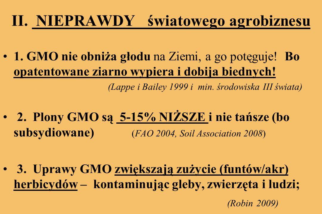 II.NIEPRAWDY światowego agrobiznesu 1. GMO nie obniża głodu na Ziemi, a go potęguje.