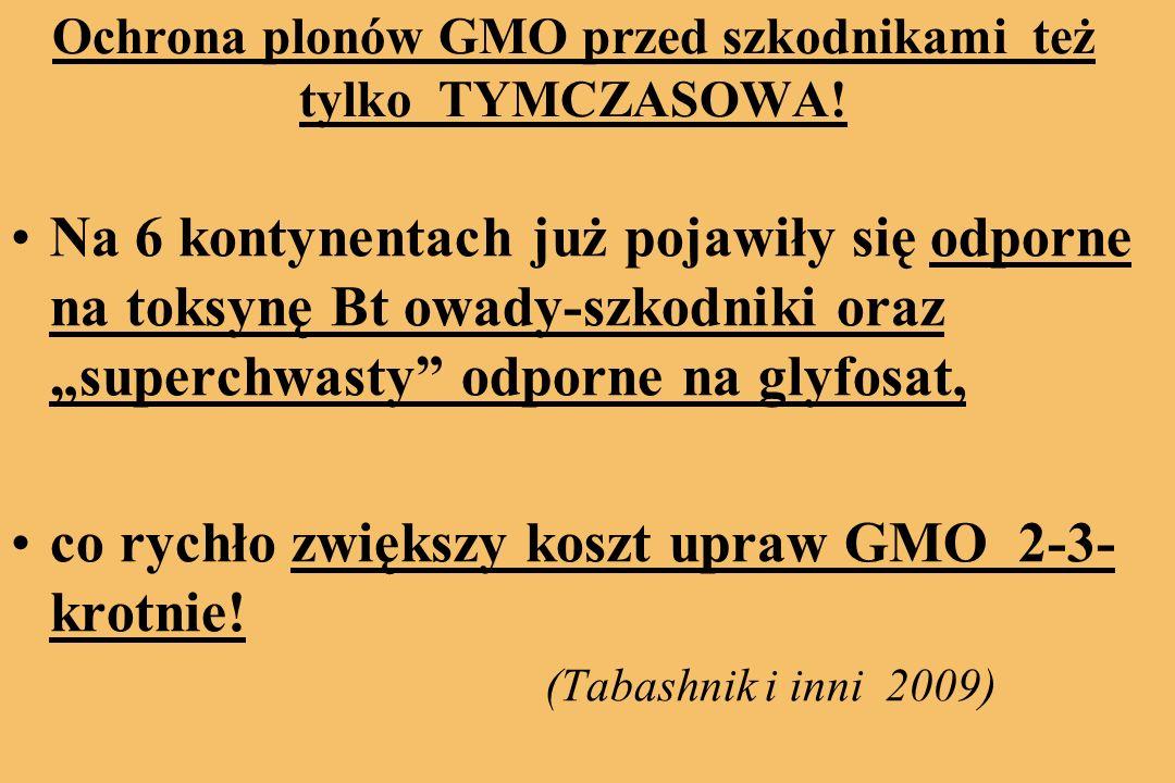 Ochrona plonów GMO przed szkodnikami też tylko TYMCZASOWA.