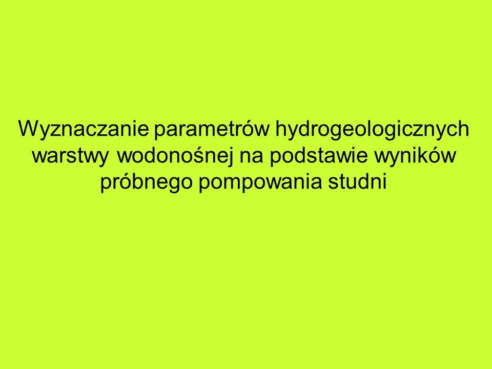 Wyznaczanie parametrów hydrogeologicznych warstwy wodonośnej na podstawie wyników próbnego pompowania studni