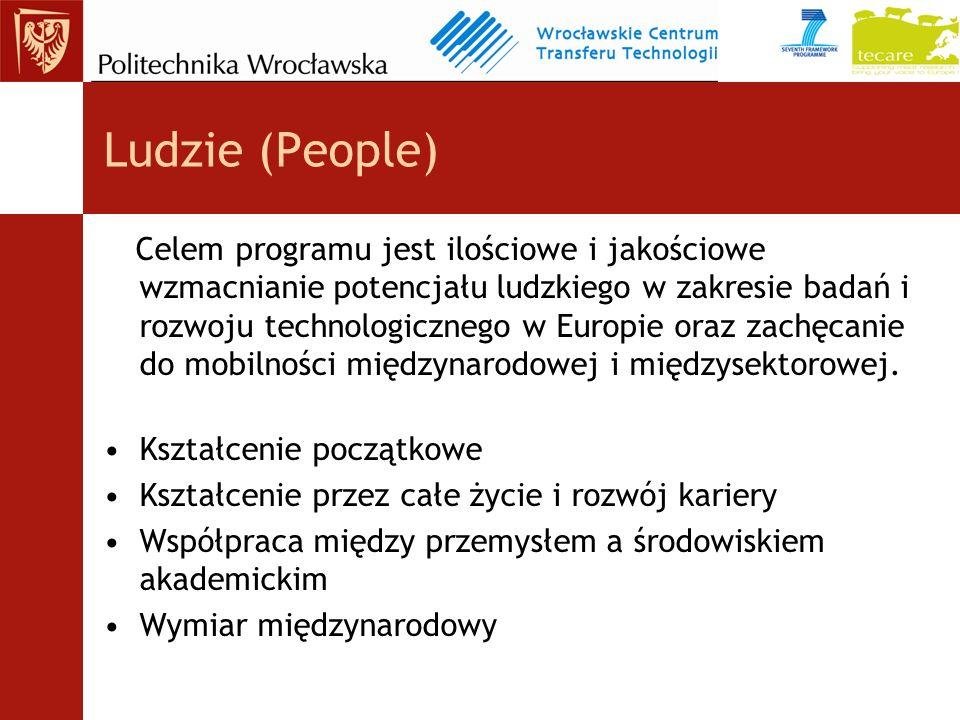 Ludzie (People) Celem programu jest ilościowe i jakościowe wzmacnianie potencjału ludzkiego w zakresie badań i rozwoju technologicznego w Europie oraz zachęcanie do mobilności międzynarodowej i międzysektorowej.