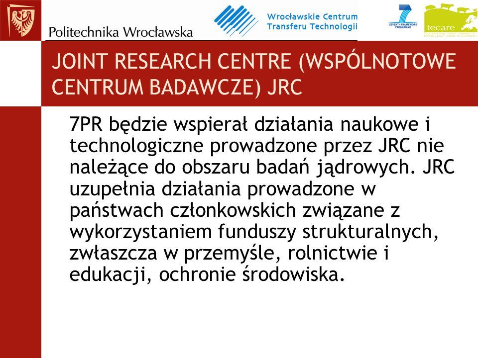JOINT RESEARCH CENTRE (WSPÓLNOTOWE CENTRUM BADAWCZE) JRC 7PR będzie wspierał działania naukowe i technologiczne prowadzone przez JRC nie należące do obszaru badań jądrowych.