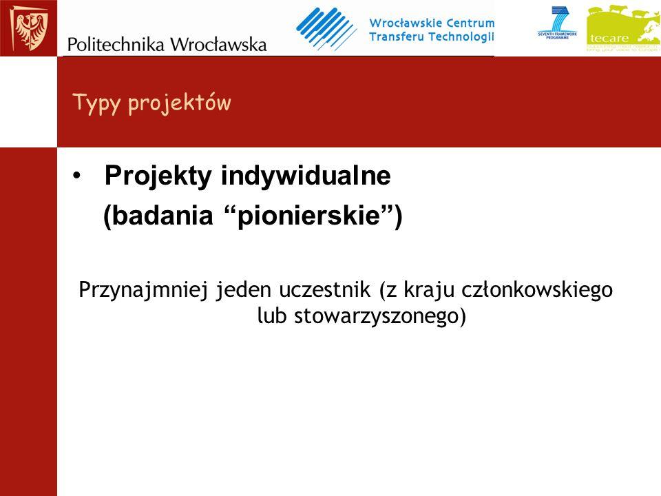 Projekty indywidualne (badania pionierskie) Przynajmniej jeden uczestnik (z kraju członkowskiego lub stowarzyszonego) Typy projektów