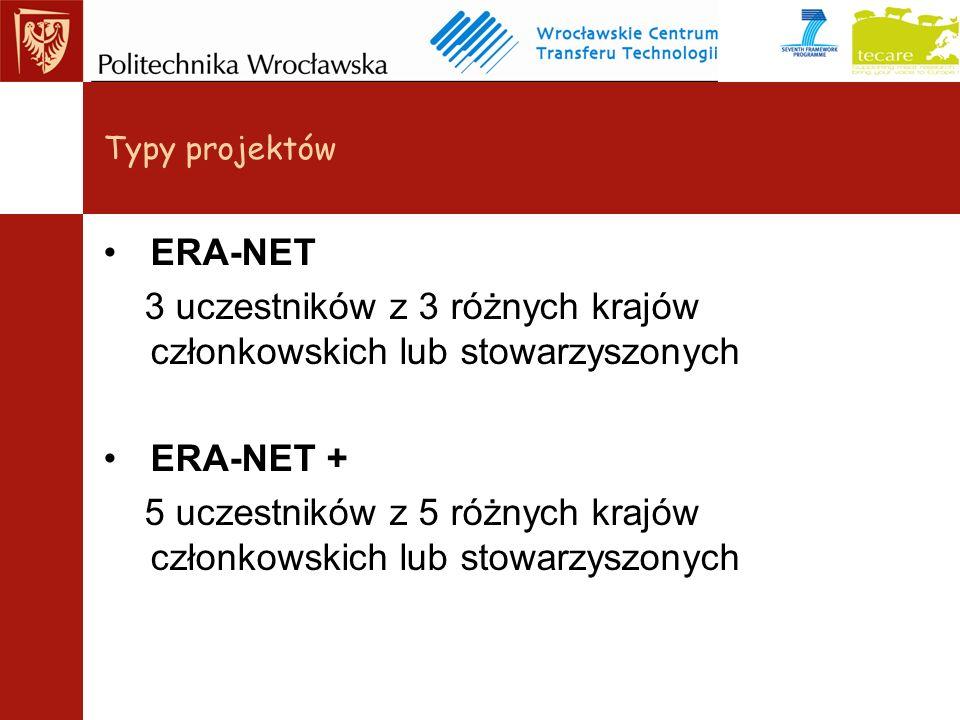 ERA-NET 3 uczestników z 3 różnych krajów członkowskich lub stowarzyszonych ERA-NET + 5 uczestników z 5 różnych krajów członkowskich lub stowarzyszonych Typy projektów