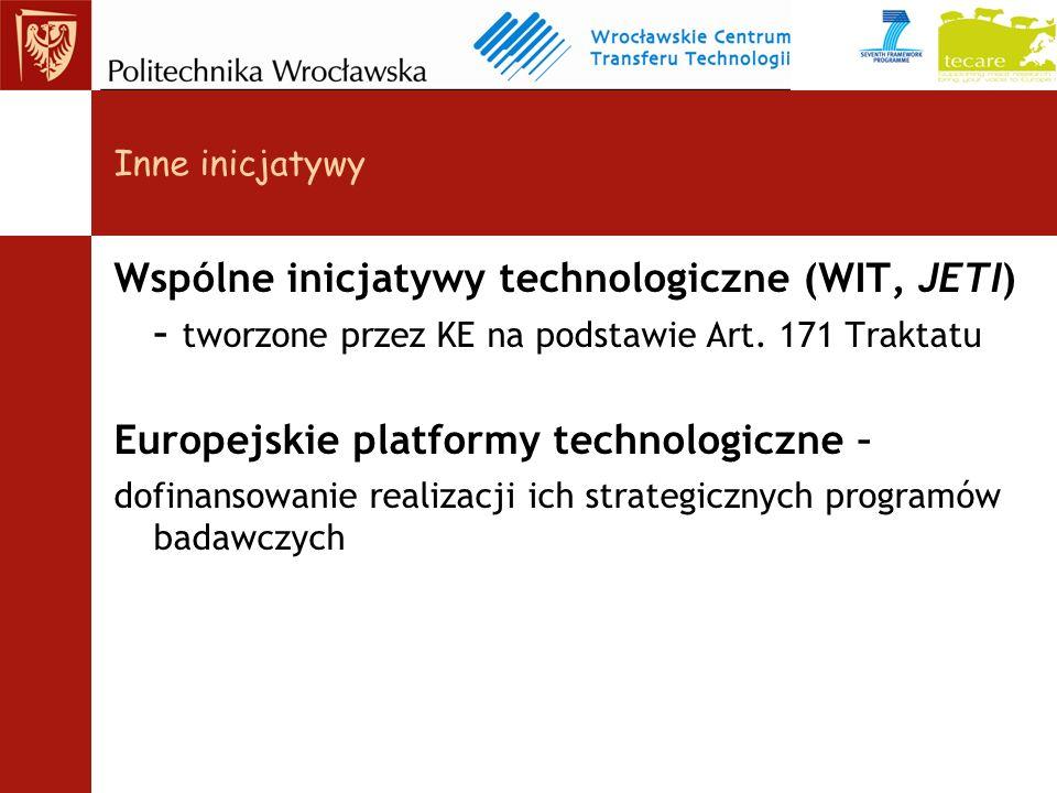 Inne inicjatywy Wspólne inicjatywy technologiczne (WIT, JETI) – tworzone przez KE na podstawie Art.