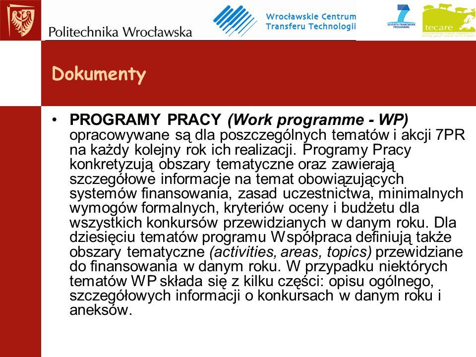 PROGRAMY PRACY (Work programme - WP) opracowywane są dla poszczególnych tematów i akcji 7PR na każdy kolejny rok ich realizacji.
