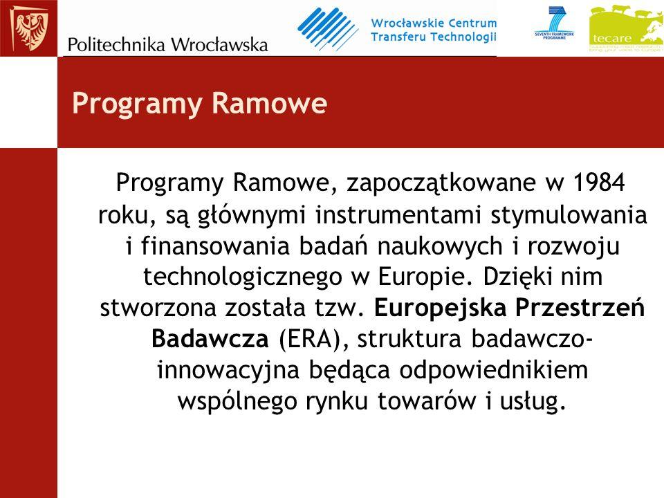Programy Ramowe Programy Ramowe, zapoczątkowane w 1984 roku, są głównymi instrumentami stymulowania i finansowania badań naukowych i rozwoju technologicznego w Europie.