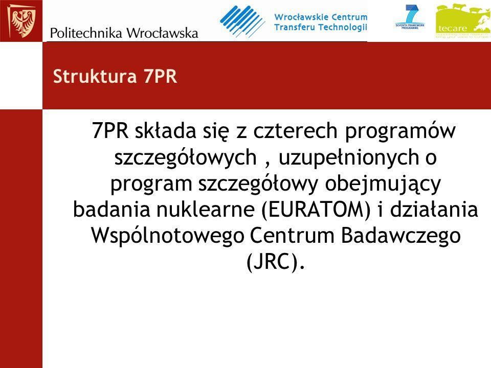 Struktura 7PR 7PR składa się z czterech programów szczegółowych, uzupełnionych o program szczegółowy obejmujący badania nuklearne (EURATOM) i działania Wspólnotowego Centrum Badawczego (JRC).