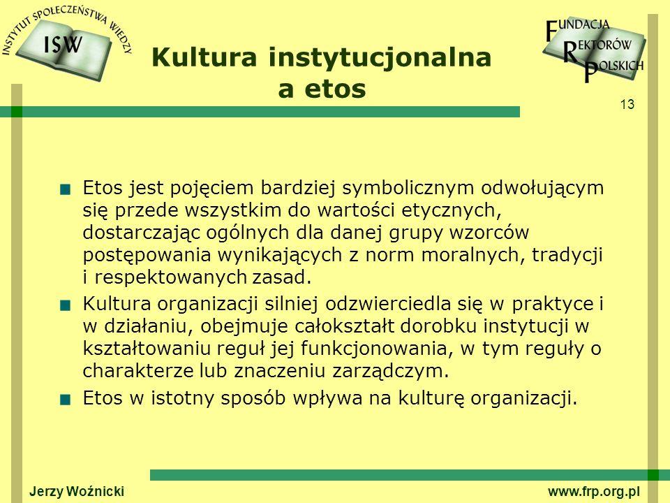 13 Jerzy Woźnicki www.frp.org.pl Kultura instytucjonalna a etos Etos jest pojęciem bardziej symbolicznym odwołującym się przede wszystkim do wartości etycznych, dostarczając ogólnych dla danej grupy wzorców postępowania wynikających z norm moralnych, tradycji i respektowanych zasad.