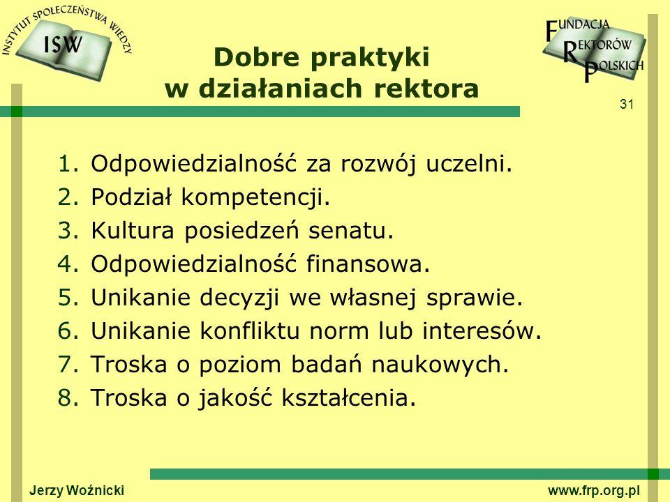 31 Dobre praktyki w działaniach rektora 1.Odpowiedzialność za rozwój uczelni.