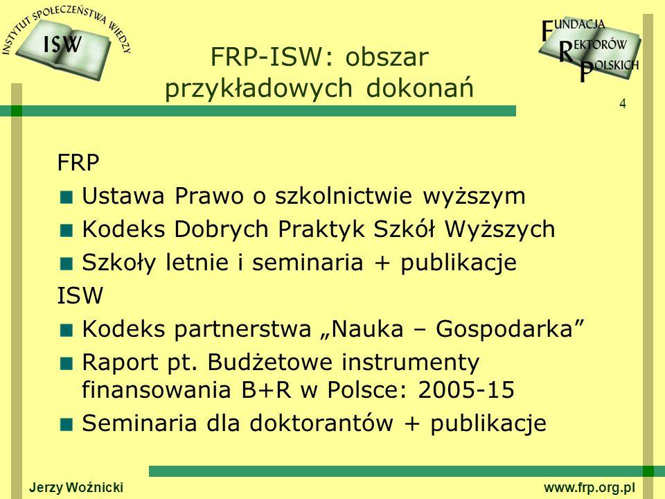 4 FRP-ISW: obszar przykładowych dokonań FRP Ustawa Prawo o szkolnictwie wyższym Kodeks Dobrych Praktyk Szkół Wyższych Szkoły letnie i seminaria + publikacje ISW Kodeks partnerstwa Nauka – Gospodarka Raport pt.
