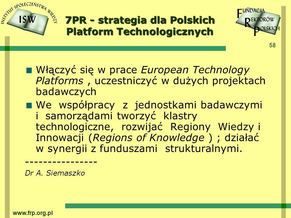 58 www.frp.org.pl 7PR - strategia dla Polskich Platform Technologicznych Włączyć się w prace European Technology Platforms, uczestniczyć w dużych projektach badawczych We współpracy z jednostkami badawczymi i samorządami tworzyć klastry technologiczne, rozwijać Regiony Wiedzy i Innowacji (Regions of Knowledge ) ; działać w synergii z funduszami strukturalnymi.