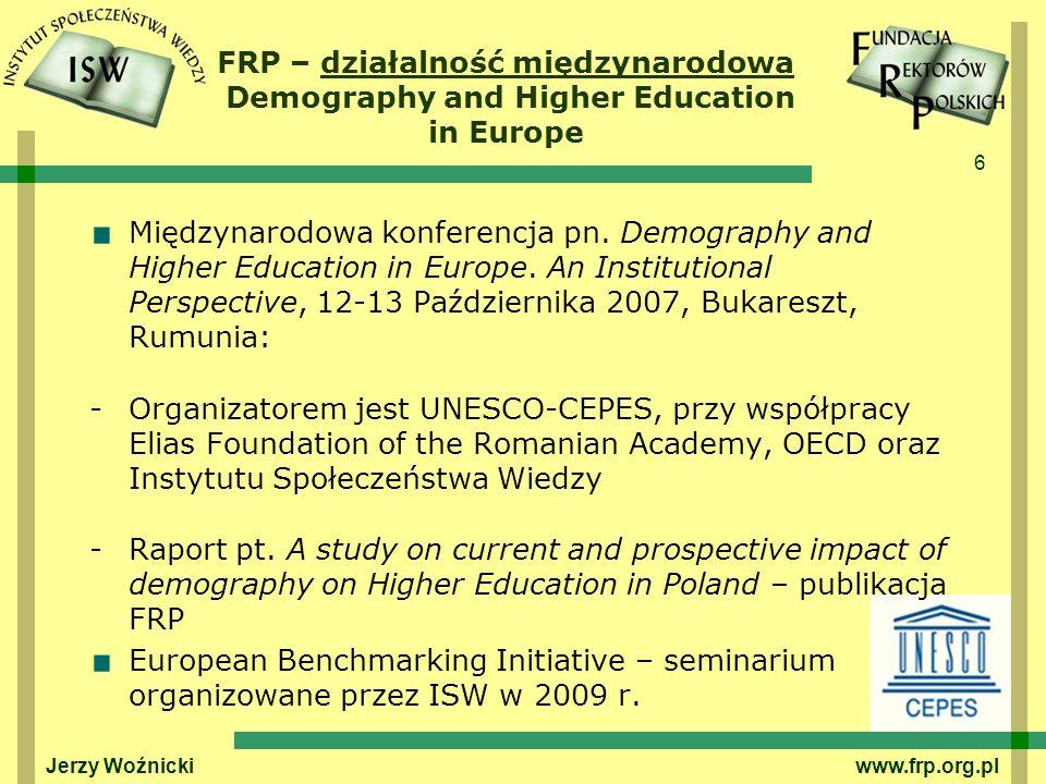 6 Międzynarodowa konferencja pn.Demography and Higher Education in Europe.