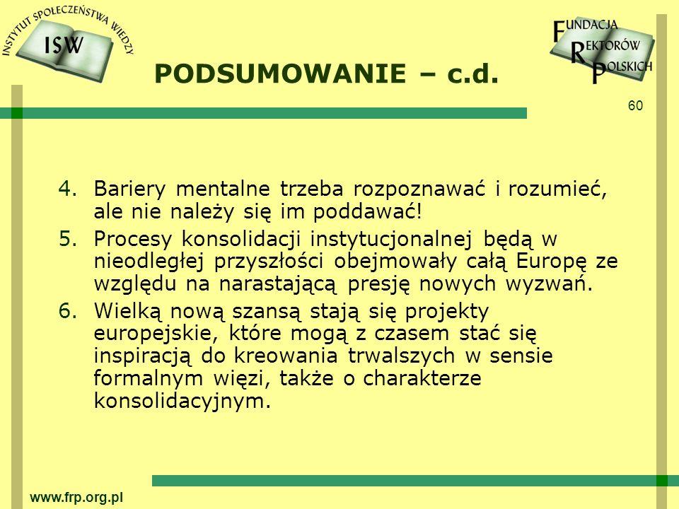 60 www.frp.org.pl PODSUMOWANIE – c.d.