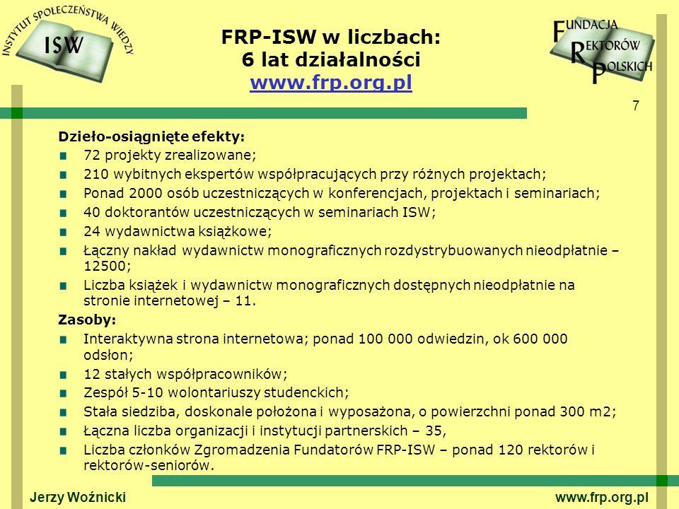 7 FRP-ISW w liczbach: 6 lat działalności www.frp.org.pl Dzieło-osiągnięte efekty: 72 projekty zrealizowane; 210 wybitnych ekspertów współpracujących przy różnych projektach; Ponad 2000 osób uczestniczących w konferencjach, projektach i seminariach; 40 doktorantów uczestniczących w seminariach ISW; 24 wydawnictwa książkowe; Łączny nakład wydawnictw monograficznych rozdystrybuowanych nieodpłatnie – 12500; Liczba książek i wydawnictw monograficznych dostępnych nieodpłatnie na stronie internetowej – 11.