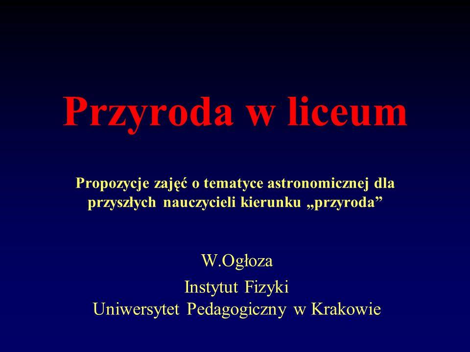 Przyroda w liceum Propozycje zajęć o tematyce astronomicznej dla przyszłych nauczycieli kierunku przyroda W.Ogłoza Instytut Fizyki Uniwersytet Pedagog