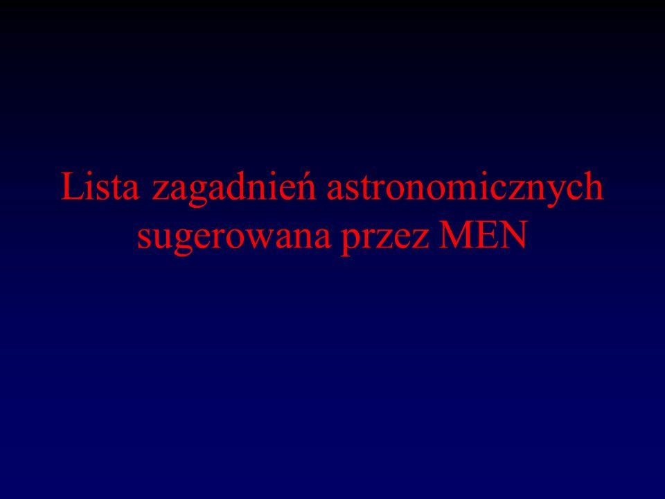 Lista zagadnień astronomicznych sugerowana przez MEN