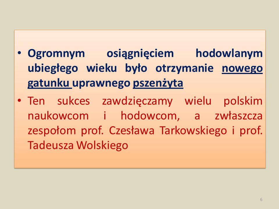 Ogromnym osiągnięciem hodowlanym ubiegłego wieku było otrzymanie nowego gatunku uprawnego pszenżyta Ten sukces zawdzięczamy wielu polskim naukowcom i
