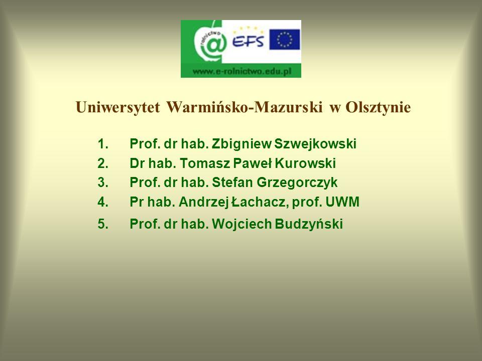 Akademia Rolnicza w Szczecinie 1.Dr inż. Artur Antoszek 2.Dr inż. Krzysztof Pacewicz 3.Prof. dr hab. Henryk Kamieniecki 4.Dr Renata Pilarczyk 5.Prof.