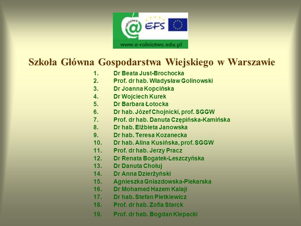 Akademia Rolnicza we Wrocławiu 1.Dr hab. Danuta Mierzwa, prof. AR 2.Prof. dr hab. Ewa Sawicka-Sienkiewicz 3.Dr inż. Renata Galek 4.Dr hab. Henryk Buja