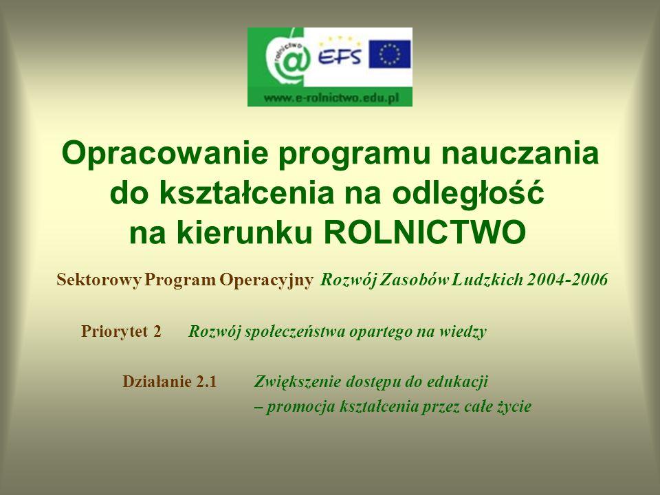 Opracowanie programu nauczania do kształcenia na odległość na kierunku ROLNICTWO Projekt współfinansowany przez Unię Europejską w ramach Europejskiego