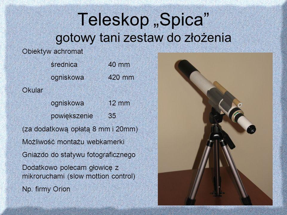 Teleskop Spica gotowy tani zestaw do złożenia Obiektyw achromat średnica 40 mm ogniskowa 420 mm Okular ogniskowa 12 mm powiększenie 35 (za dodatkową o