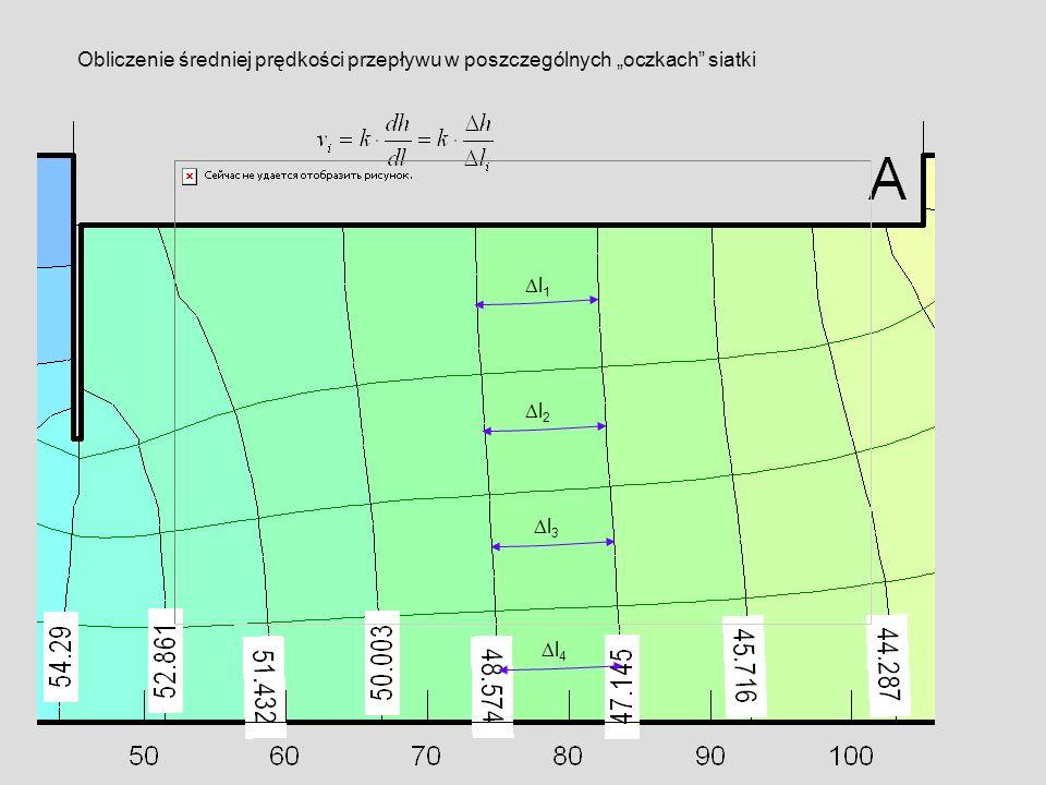 l 1 l 4 l 3 l 2 Obliczenie średniej prędkości przepływu w poszczególnych oczkach siatki