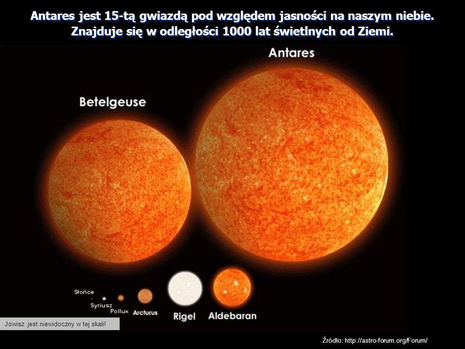 Jowisz jest niewidoczny w tej skali! Źródło: http://astro-forum.org/Forum/ Antares jest 15-tą gwiazdą pod względem jasności na naszym niebie. Znajduje