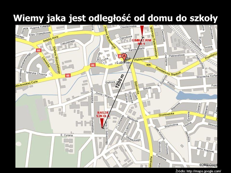 Wiemy jaka jest odległość od domu do szkoły Źródło: http://maps.google.com/ 1200 m