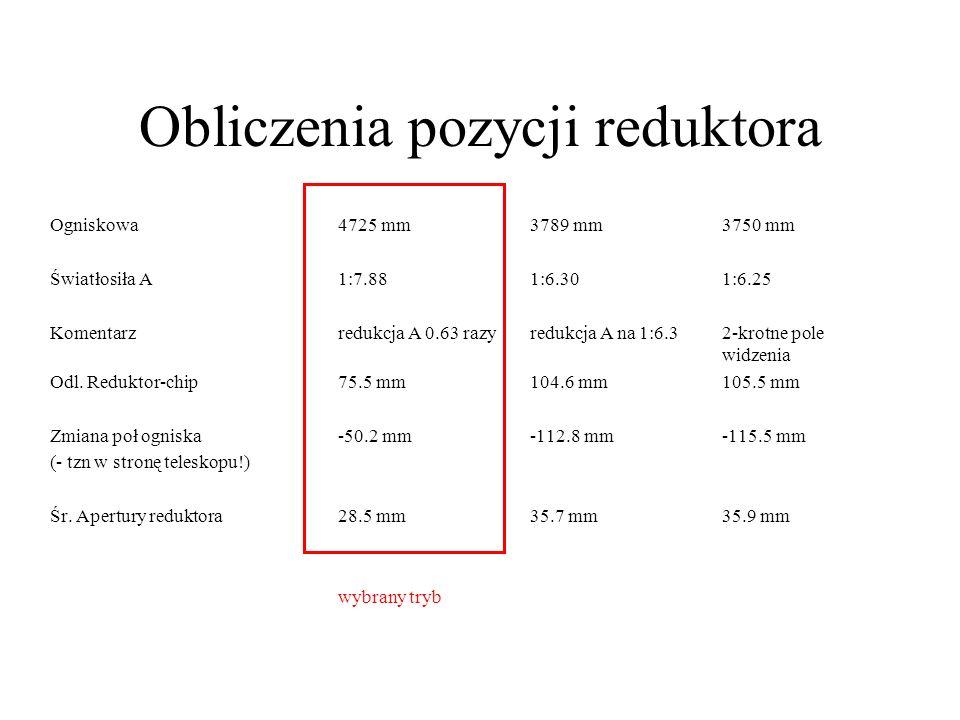 Obliczenia pozycji reduktora Ogniskowa4725 mm3789 mm3750 mm Światłosiła A1:7.881:6.301:6.25 Komentarzredukcja A 0.63 razyredukcja A na 1:6.32-krotne pole widzenia Odl.