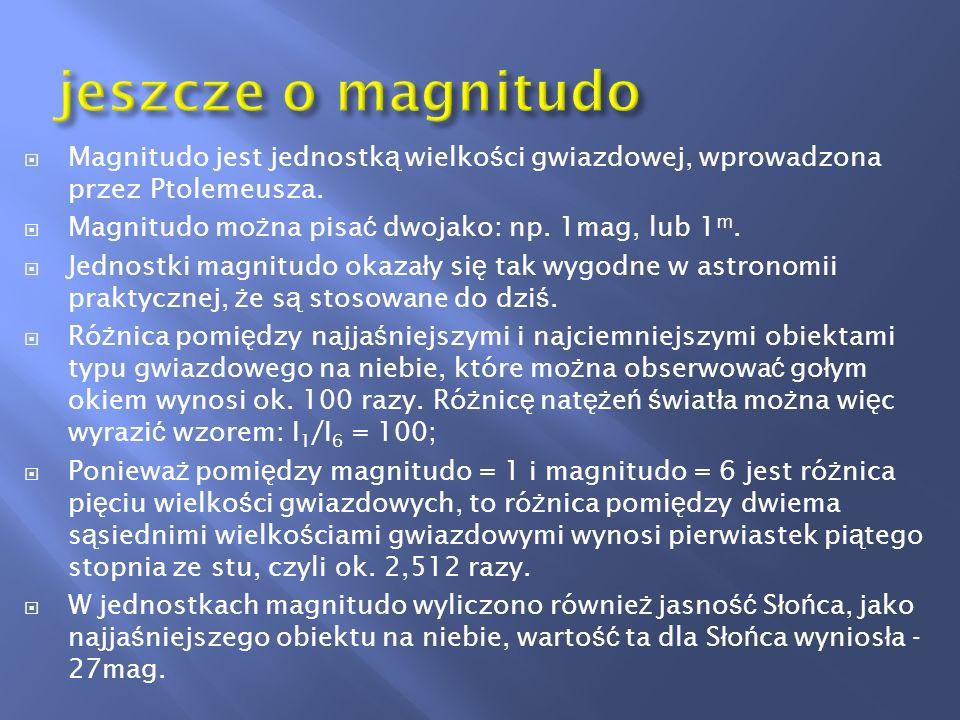 Porównanie jasno ś ci obiektów w skali magnitudo: - 26m jasno ść S ł o ń ca - 12,8m jasno ść Ksi ęż yca w pe ł ni - 4,7m Wenus najja ś niejsza planeta w max.