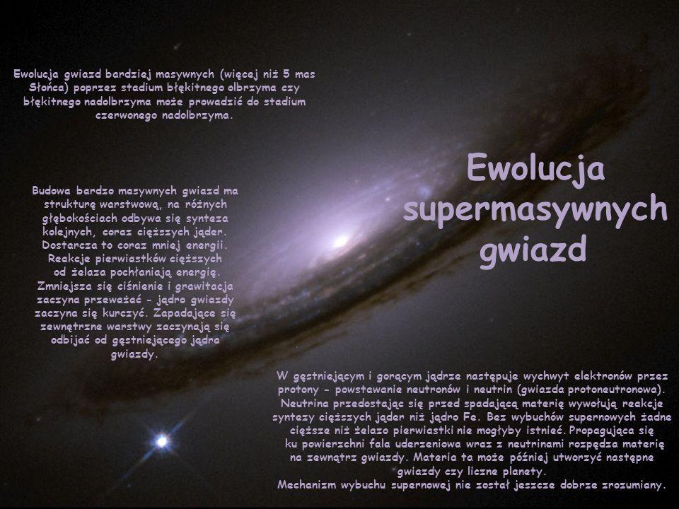 Ewolucja supermasywnych gwiazd Ewolucja gwiazd bardziej masywnych (więcej niż 5 mas Słońca) poprzez stadium błękitnego olbrzyma czy błękitnego nadolbr
