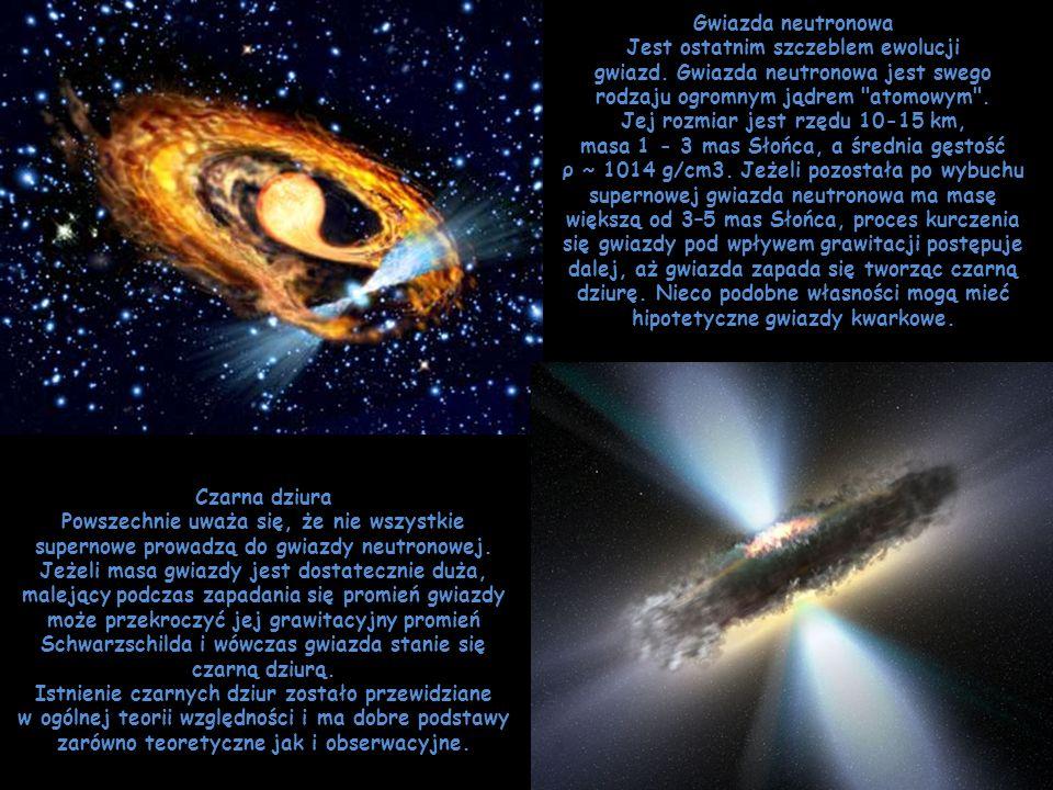 Gwiazda neutronowa Jest ostatnim szczeblem ewolucji gwiazd. Gwiazda neutronowa jest swego rodzaju ogromnym jądrem